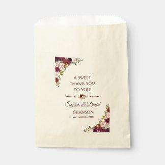 Bolsa De Papel El boda floral elegante de Borgoña Marsala LE