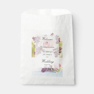 Bolsa De Papel El casarse del vintage de las lilas y de los rosas