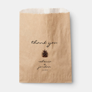 Bolsa De Papel El cono rústico del pino le agradece los bolsos