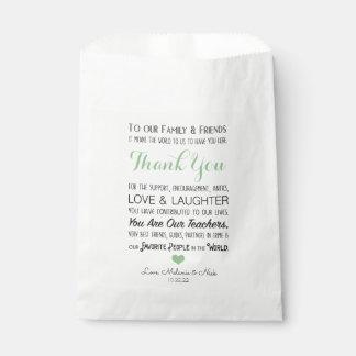 Bolsa De Papel El favor del boda le agradece la verde salvia 3981