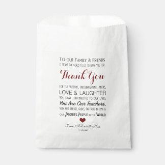 Bolsa De Papel El favor del boda le agradece mensaje Borgoña 3979