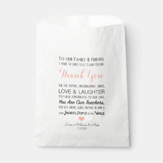 Bolsa De Papel El favor del boda le agradece que el mensaje se