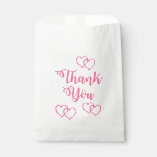 Bolsa De Papel El rosa le agradece boda del corazón/fiesta de