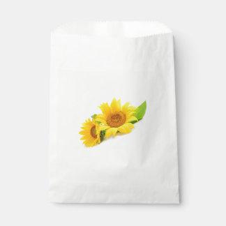 Bolsa De Papel Flor verde y amarilla del girasol floral del boda