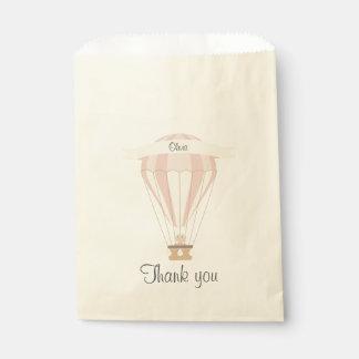 """Bolsa De Papel """"gracias"""" globo del aire caliente del rosa del"""