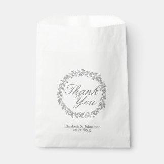Bolsa De Papel La guirnalda gris le agradece los bolsos del favor