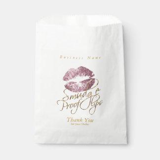 Bolsa De Papel Labios de la prueba de la mancha - color de rosa