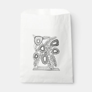 Bolsa De Papel Línea floral retra diseño del florero del arte