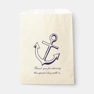 Bolsa De Papel Los azules marinos anclan le agradecen boda