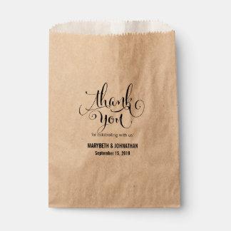 Bolsa De Papel Moderno rústico Script el bolso del favor del boda