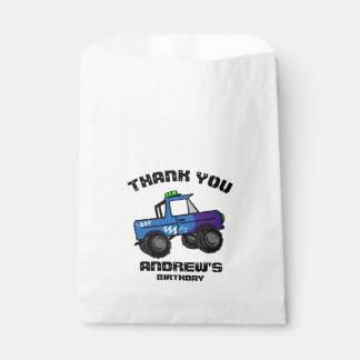 Bolsa De Papel Monster truck azul del cumpleaños del camión