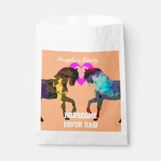Bolsa De Papel Niños caballo y bolsos del favor de los corazones