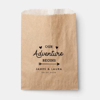 Bolsa De Papel Nuestra aventura comienza a casar el bolso del