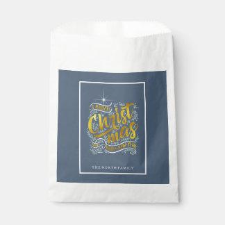 Bolsa De Papel Oro mágico ID441 de la tipografía del navidad