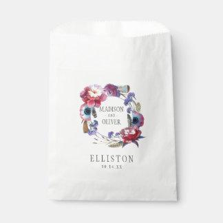Bolsa De Papel Peony del Wildflower floral con las plumas el  