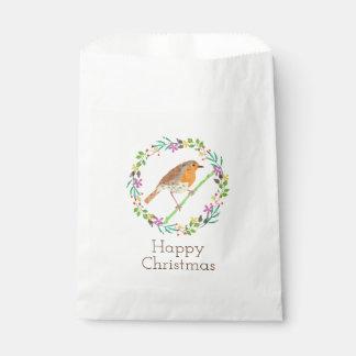 Bolsa De Papel Petirrojo el pájaro del navidad
