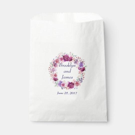 Bolsa De Papel Ramo floral del rosa y de Borgoña