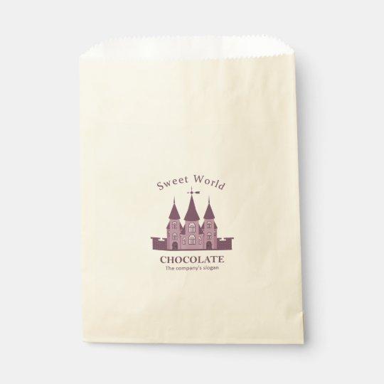 Bolsa De Papel Su Bolso-Castillo de encargo del favor de Ecru