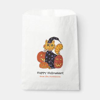 Bolsa De Papel Truco o invitación de Halloween del gato del