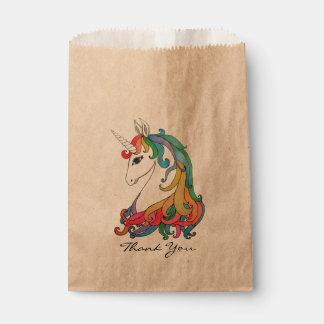 Bolsa De Papel Unicornio lindo del arco iris de la acuarela