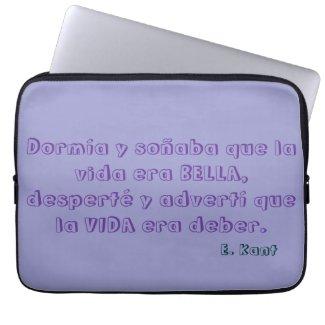 Bolsa de Portátil con frase sobre la vida de Kant