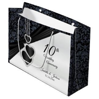 Bolsa De Regalo Grande 10mo Aniversario de boda del ónix - grande