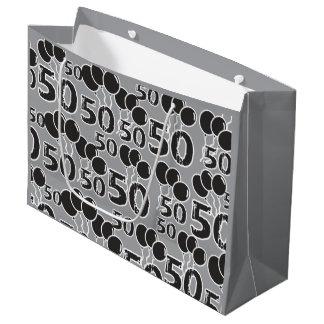 Bolsa De Regalo Grande 50.o Negro gris del cumpleaños