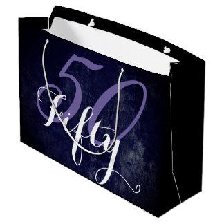 Bolsa De Regalo Grande ¡50 y fabuloso! 50.o cumpleaños de la lila blanca