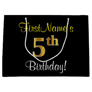 Bolsa De Regalo Grande 5to cumpleaños del oro elegante, negro, falso +