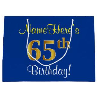 Bolsa De Regalo Grande 65.o cumpleaños del oro elegante, azul, falso +