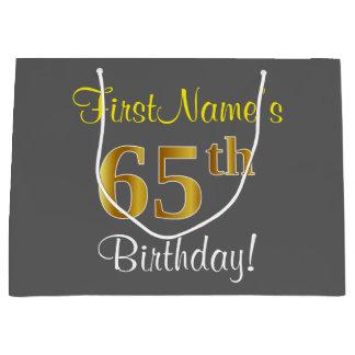 Bolsa De Regalo Grande 65.o cumpleaños del oro elegante, gris, falso +