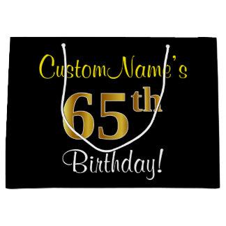 Bolsa De Regalo Grande 65.o cumpleaños del oro elegante, negro, falso +