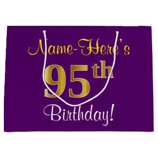 Bolsa De Regalo Grande 95.o cumpleaños del oro elegante, púrpura, falso +