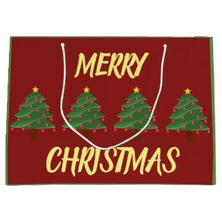 Bolsa De Regalo Grande Árboles de Chrismas en bolso rojo del regalo