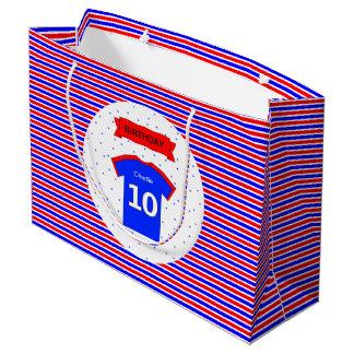 Bolsa De Regalo Grande azul rojo personalizado 10mo cumpleaños