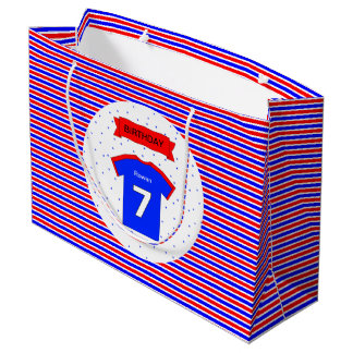 Bolsa De Regalo Grande azul rojo personalizado 7mo cumpleaños