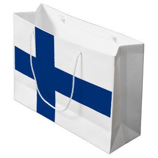 Bolsa De Regalo Grande Bandera de la bandera cruzada azul de Finlandia
