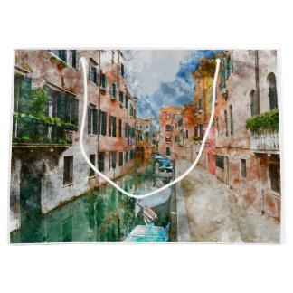 Bolsa De Regalo Grande Barcos en los canales de Venecia Italia