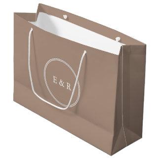 Bolsa De Regalo Grande Beige de color topo caliente con el detalle blanco