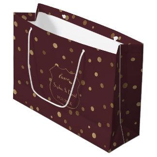 Bolsa De Regalo Grande Boda de Borgoña del amor del confeti del oro