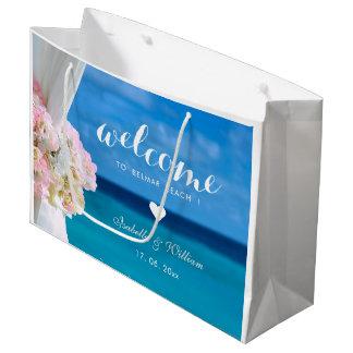 Bolsa De Regalo Grande Boda de playa azul floral elegante del océano