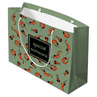 Bolsa De Regalo Grande Bolso de encargo del regalo del camarón divertido