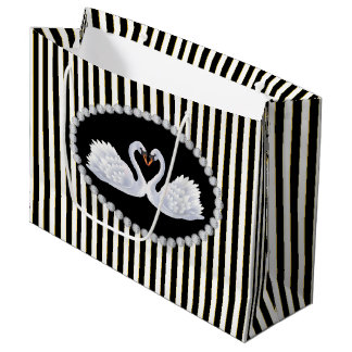Bolsa De Regalo Grande Bolso de LG de las rayas negras elegantes, de los