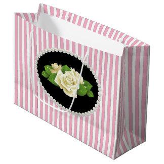 Bolsa De Regalo Grande Bolso de LG de las rayas rosadas elegantes, de las