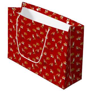 Bolsa De Regalo Grande Bolso del regalo de la familia del Fox rojo