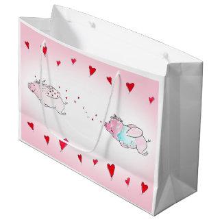 Bolsa De Regalo Grande Bolso del regalo de los cerdos del amor del vuelo