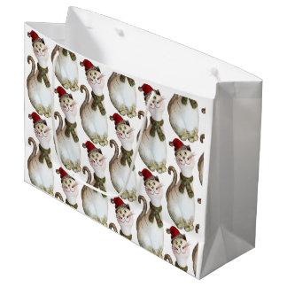 Bolsa De Regalo Grande Bolso del regalo del gato del navidad