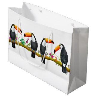 Bolsa De Regalo Grande Bolso grande del regalo de los pájaros tropicales