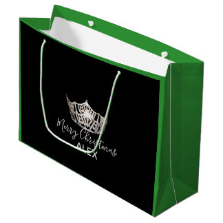 Bolsa De Regalo Grande Bolso-Navidad de plata del regalo del verde de la