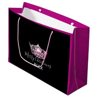 Bolsa De Regalo Grande Bolso-Navidad fucsia del regalo de la corona